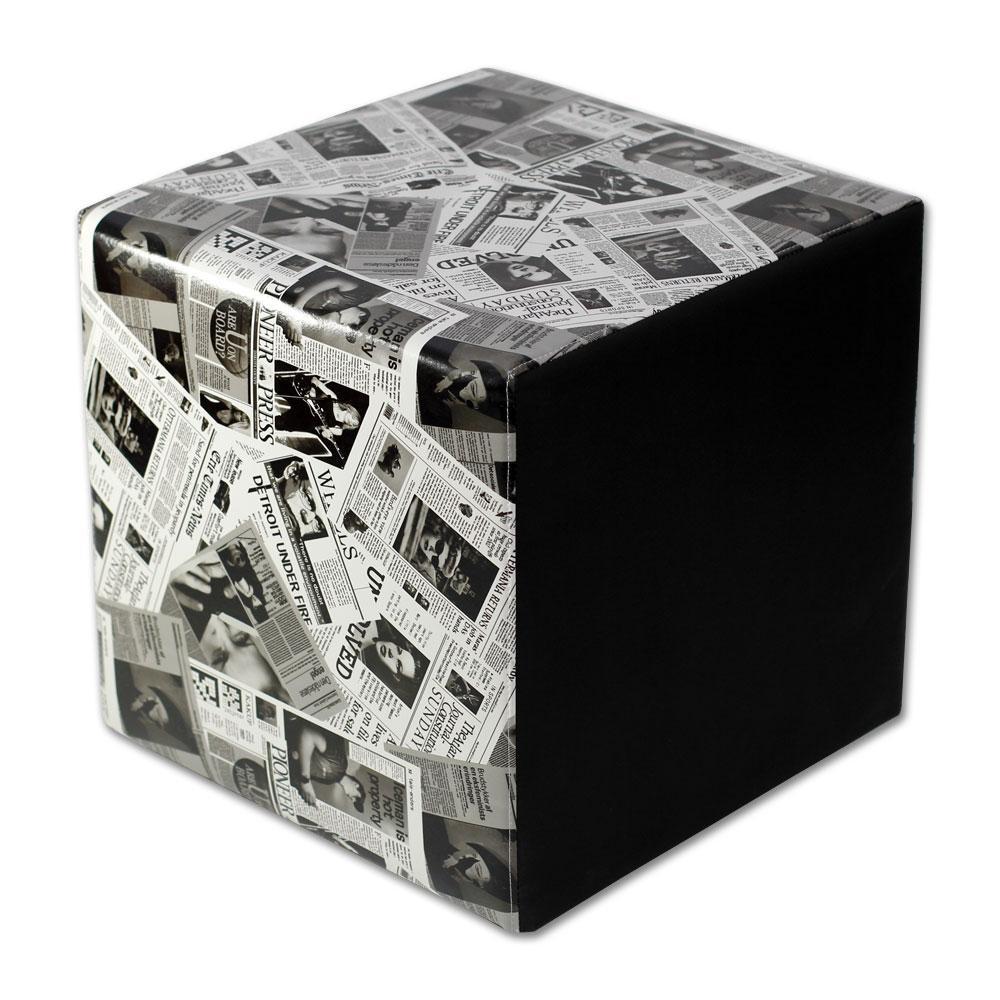 Pouf cubo stampe giornale in ecopelle con piedini comoda - Il bagno con cui si cambia tinta al tessuto ...