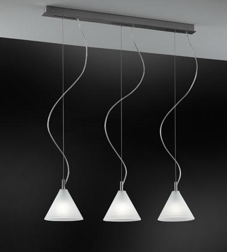 Sospensione a tre luci per cucina MODI LED paralume vetro  E14 - Citylux