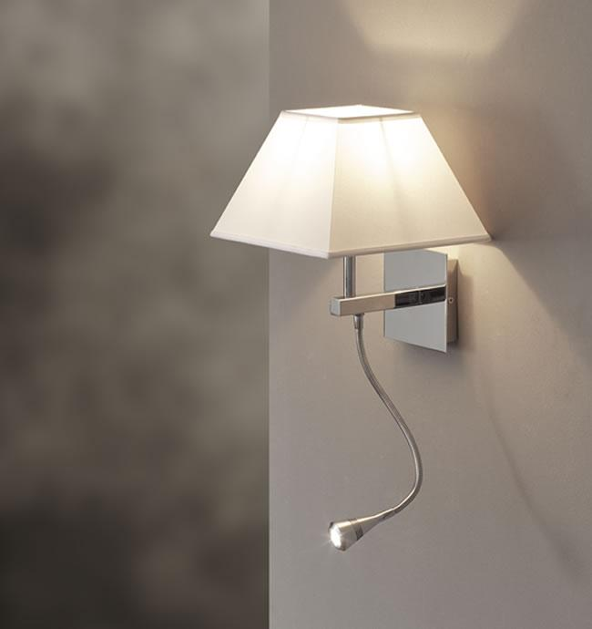 Applique con led lettura da camera paralume in tessuto - Applique led per camera da letto ...