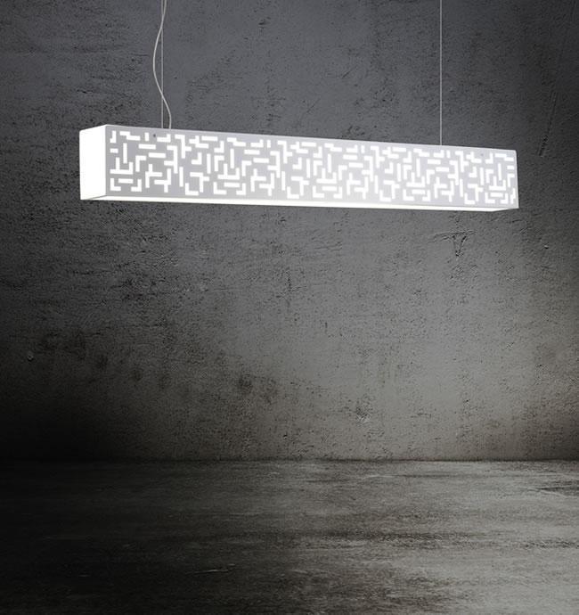 MANHATTAN 125 lampada sospensione bianca con neon T5