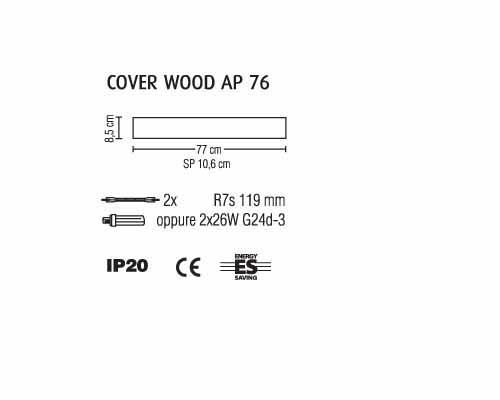 Applique legno COVER WOOD ciliegio cm76 LED