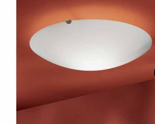 Plafoniera tonda in vetro bianco satinato per interni orione - Specchi ingranditori illuminati ...