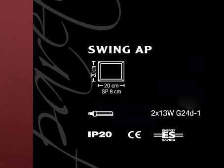 Applique quadrata SWING LED |nichel spazzolato  20x20