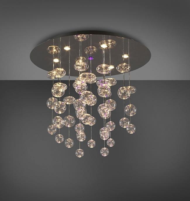 Grande lampadario con sfere a cascata Rain