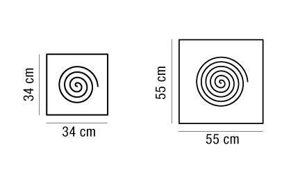 Applique o plafoniera VIROLA quadrata 34x34 | 55x55 oro o argento 2G11