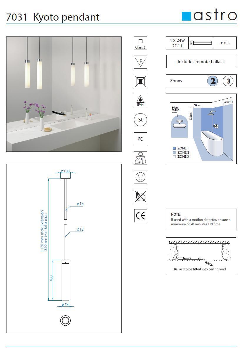 KYOTO lampada sospensione bagno
