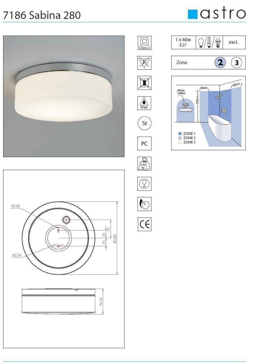 SABINA 280 plafoniera bagno vetro bianco