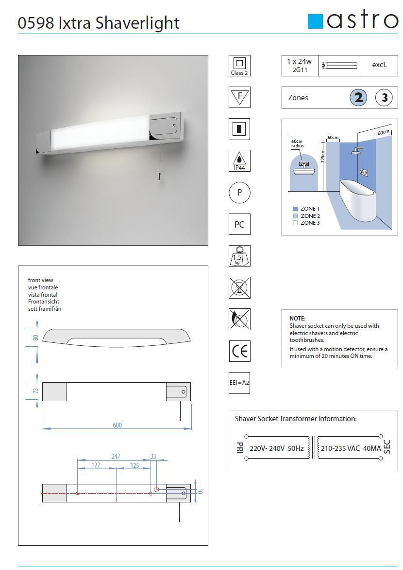 IXTRA  lampada da specchio per bagno