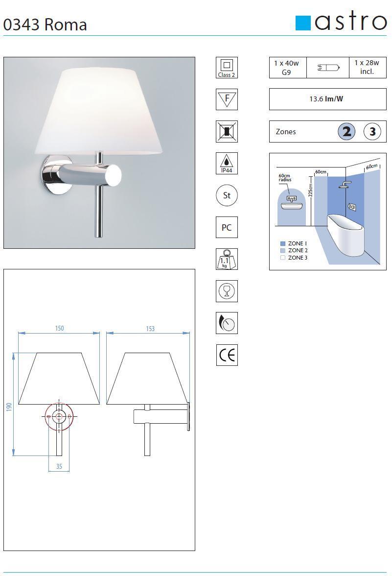 ROMA  lampada da parete per bagno