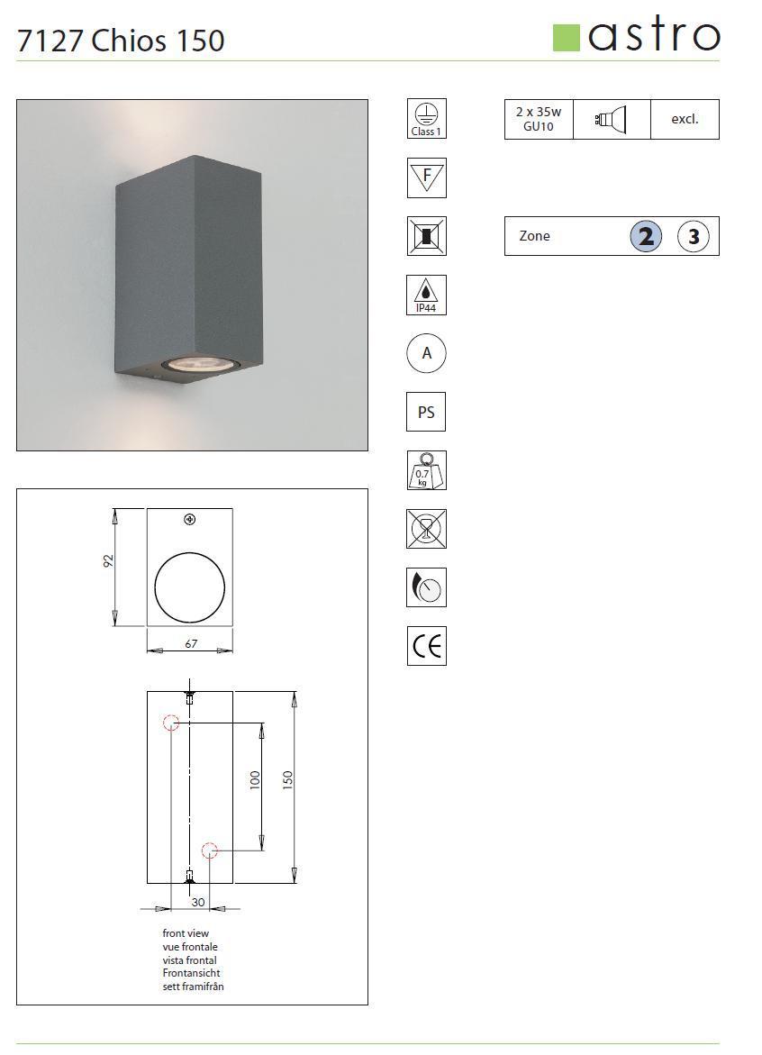 CHIOS 150 lampada parete da esterno