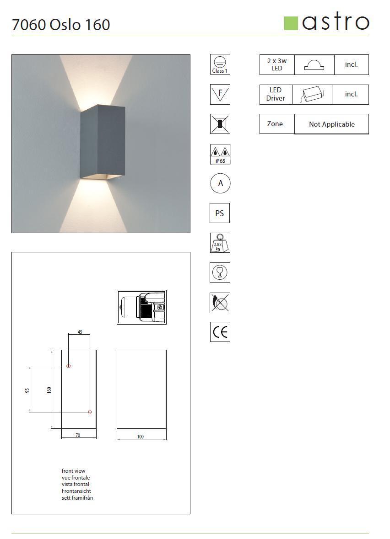 OSLO 160 LED applique per esterni