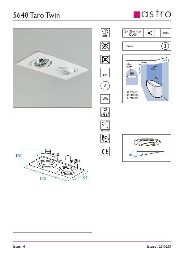 TARO TWIN bianco orientabile GU10