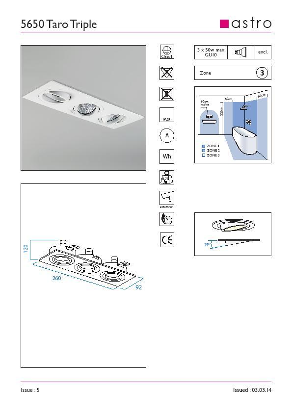 TARO TRIPLO bianco orientabile GU10