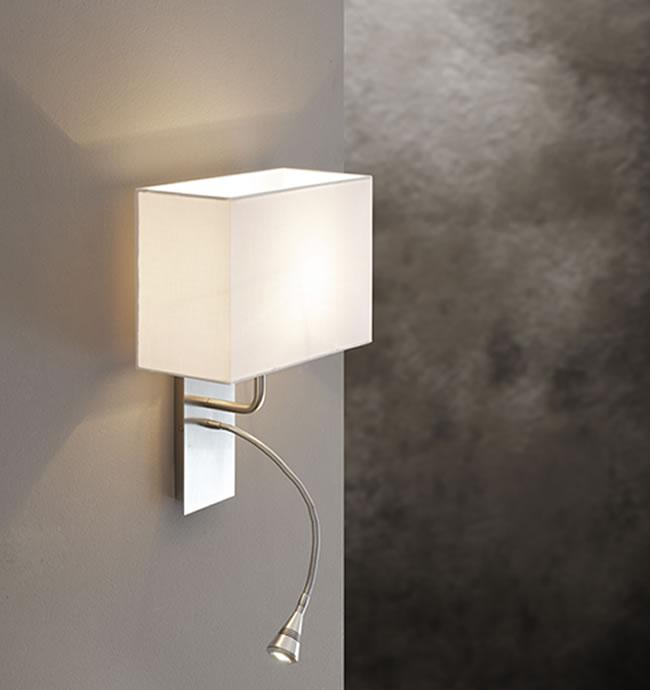 Applique con LED 1watt da lettura e paralume in tessuto Altea LED