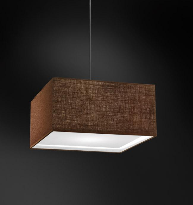 Lampada sospensione quadrata AMANDA con paralume tessuto | E27