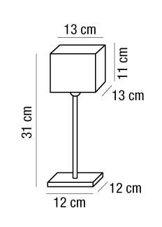 Lampada da comodino AMANDA con paralume tessuto quadrato | E27