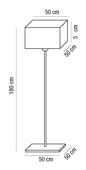 Lampada da terra AMANDAcon paralume quadrato in tessuto | 3xE27