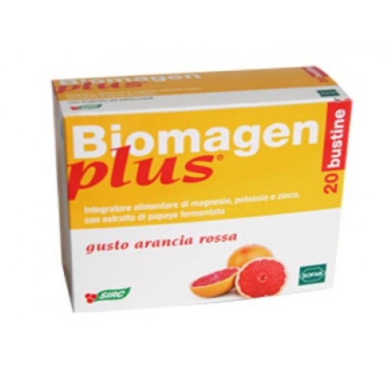 BIOMAGEN PLUS ARANCIA ROSSA 20 BST  INTEGRATORE ALIMENTARE A BASE DI MAGNESIO, POTASSIO, ZINCO E PAPAYA