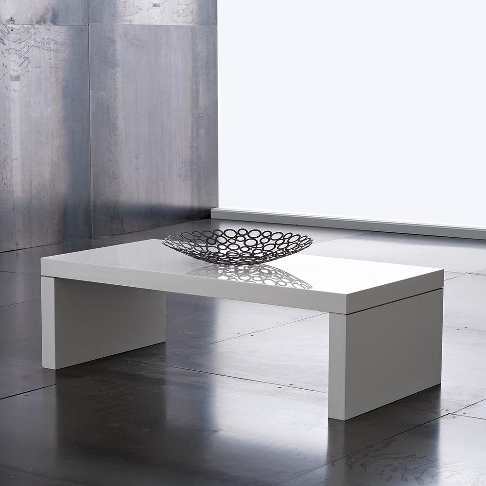 Tavolino basso salotto porta tv legno bianco lucido for Gambe tavolo legno leroy merlin