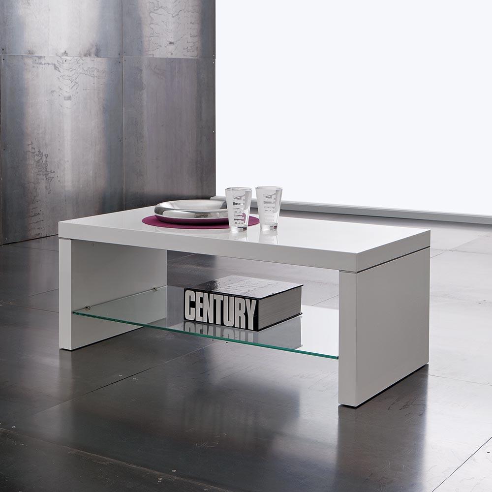 Tavolino Basso Salotto Porta Tv Legno Bianco Lucido