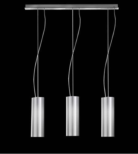 Lampada sospensione 3 luci LYRA con paralumi pvc argento | E14