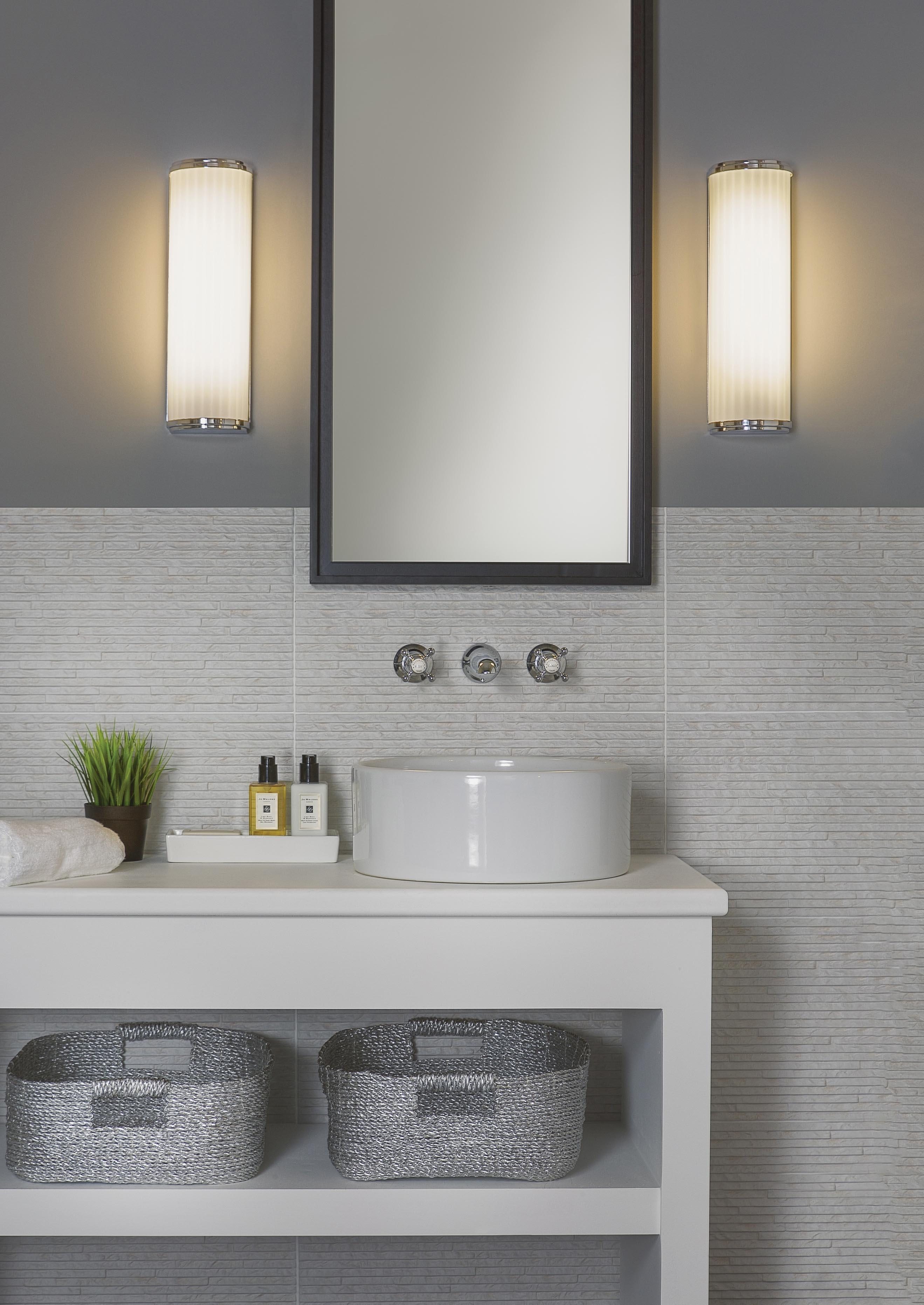 MONZA applique da bagno cromata con vetro satinato bianco