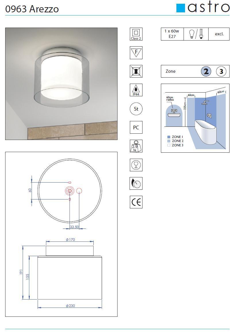 AREZZO plafoniera bagno con doppio vetro