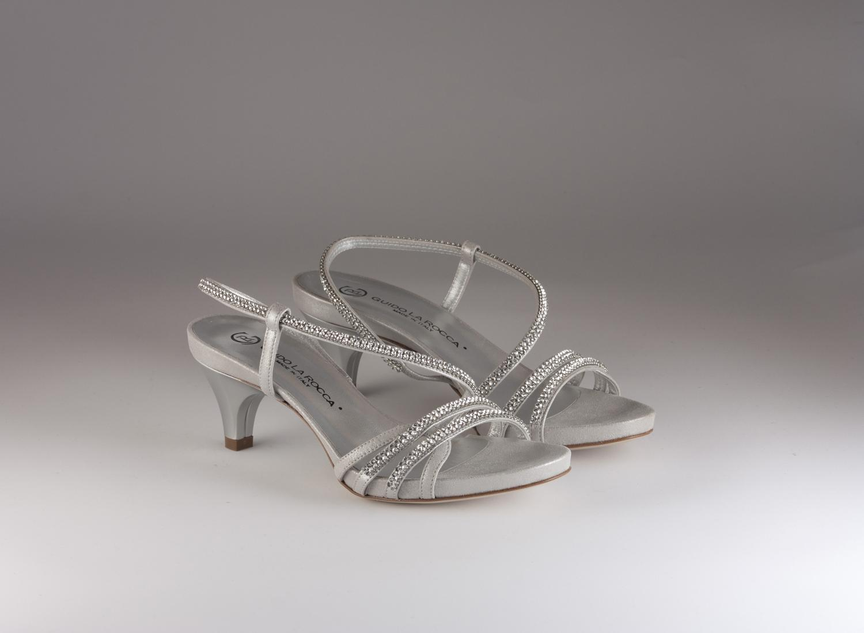 Sandalo donna elegante da sposa e cerimonia in pelle burma con applicazioni in cristallo svarovsky e cinghietta Guido La Rocca Art.G887