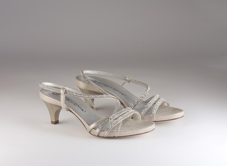 Sandalo donna elegante da sposa e Cerimonia in pelle burma oro con applicazioni in cristallo svarovsky e cinghietta Guido La rocca cod.G887