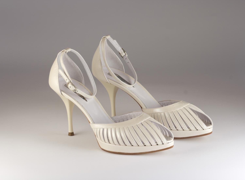 Scarpa donna elegante da sposa e cerimonia  in pelle con cinghietta regolabile Guido La Rocca cod.G420