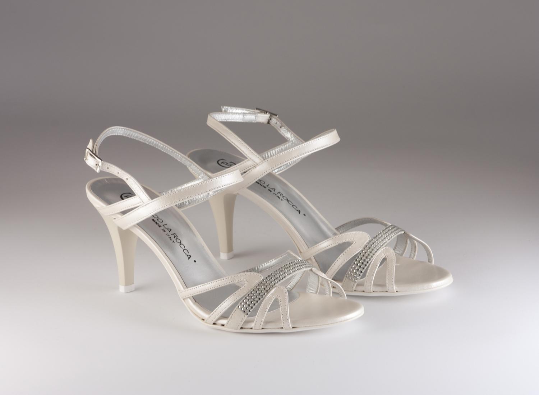 Sandalo cerimonia donna elegante da sposa con applicazione in cristallo svarovsky e cinghietta regolabile Guido La Rocca cod.G856