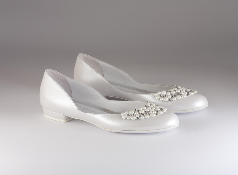 Ballerina donna elegante da sposa e cerimonia  in pelle bianca con applicazione cristalli Elata cod.S2115
