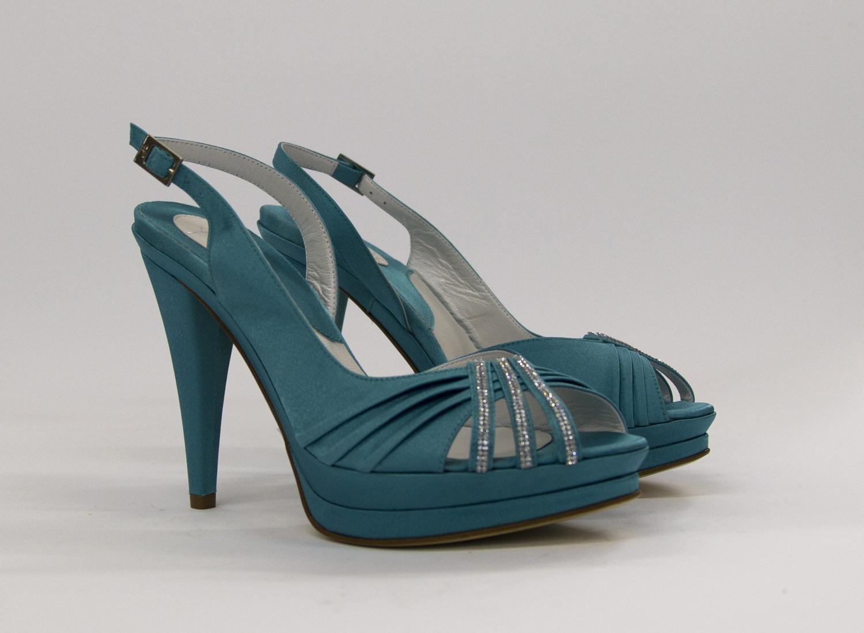 Sandalo cerimonia donna elegante in tessuto di raso Art 1732 Ferracuti