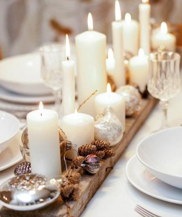 Centrotavola natalizio in legno con candele