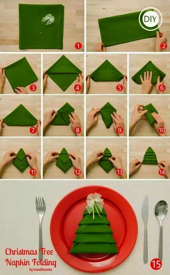 Tovaglioli natalizi verdi a forma di albero