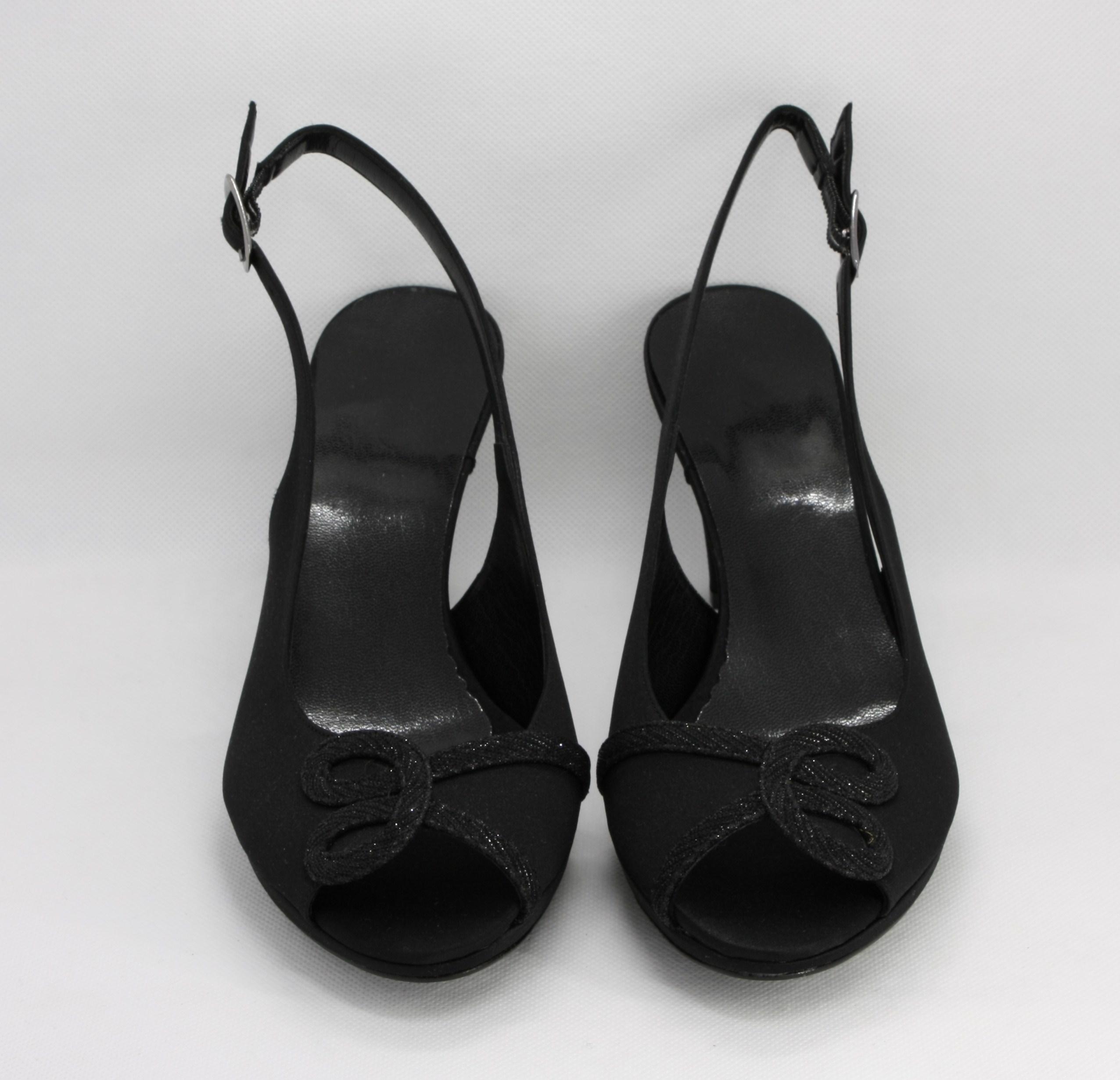 Sandalo donna elegante da cerimonia in tessuto di raso con inserti in tessuto glitter brillante e cinghietta regolabile Art. A124