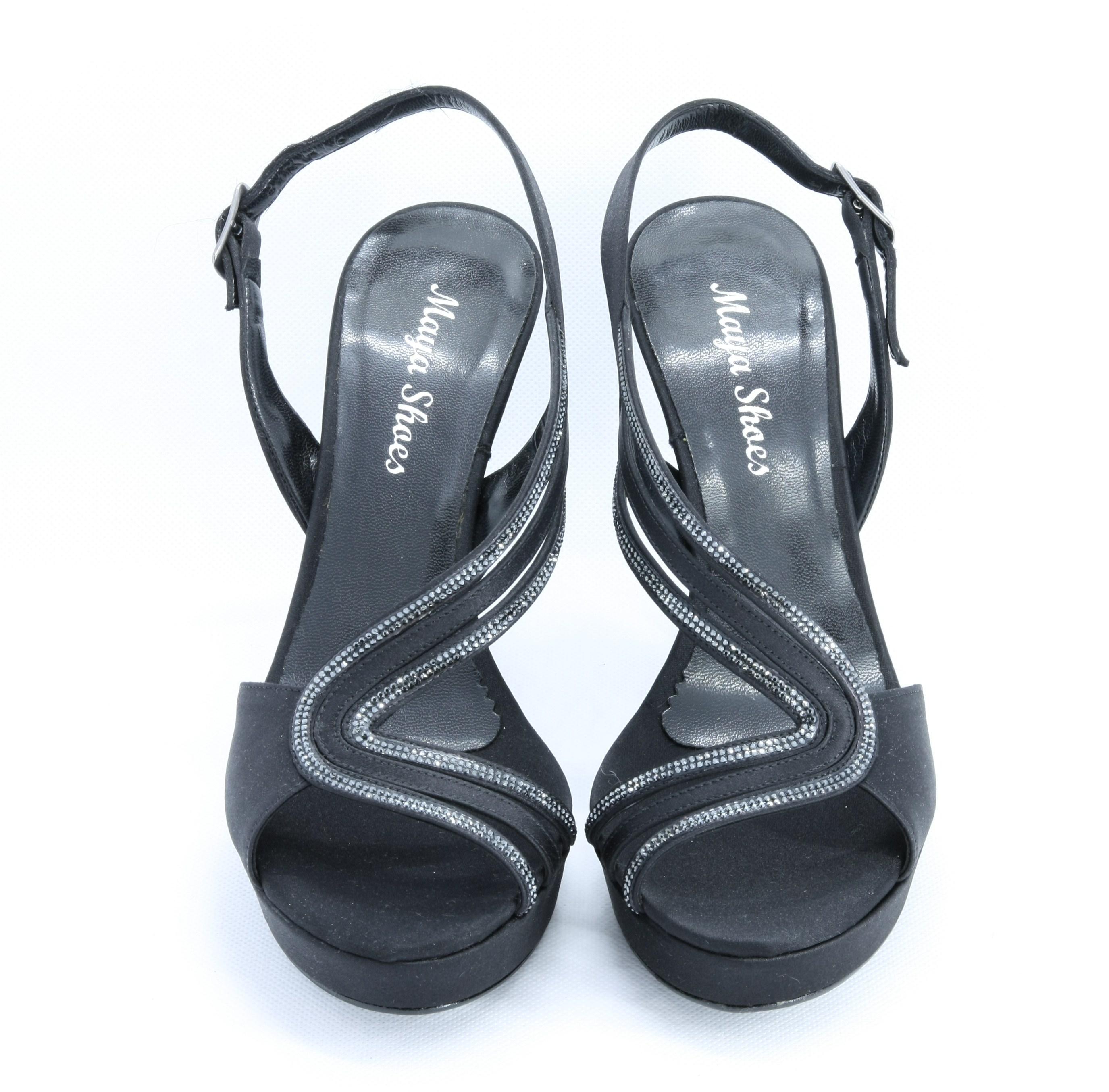 Sandalo cerimonia donna in tessuto con appliccazioni cristallo e cinghietta regolabile Art. 908