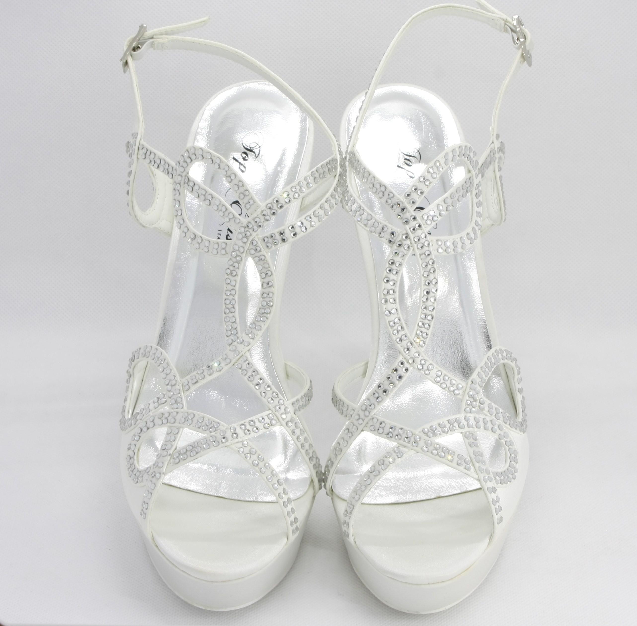 Sandalo elegante cerimonia donna e sposa in tessuto di raso con applicazioni di cristalli e cinghietta regolabile Art. H13113SARASF0200P12