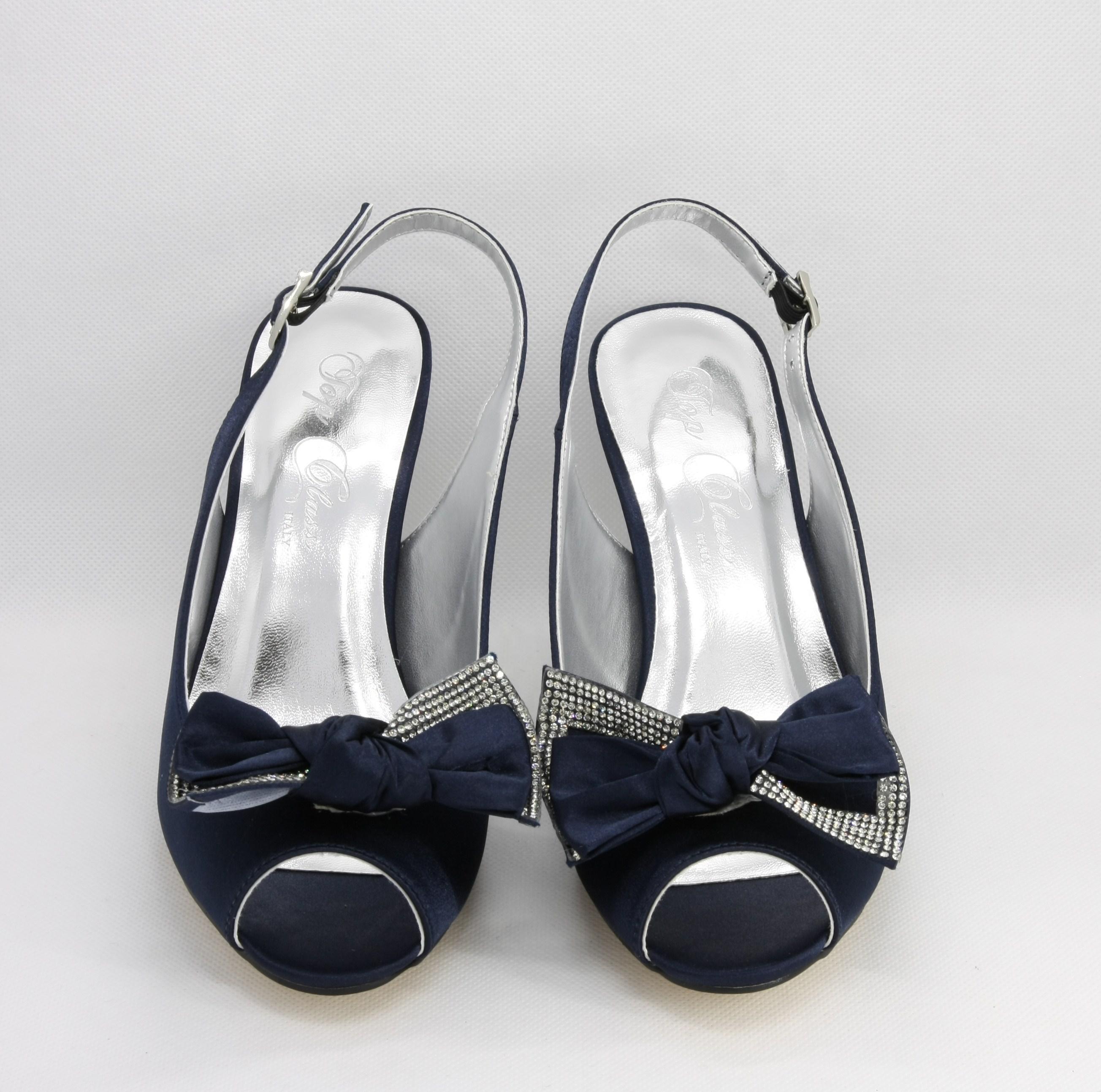 Sandalo donna elegante in tessuto blu con fiocco asportabile e cinghietta regolabile Art. H16612SARASF0943S08