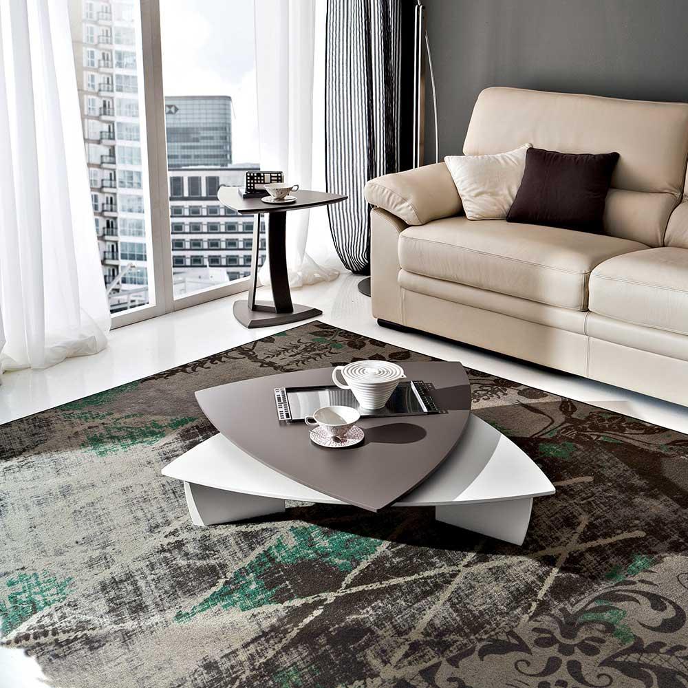 Aquisgrana Low di Eglooh | Tavolino basso da salotto in legno con 2 piani di appoggio rotabili