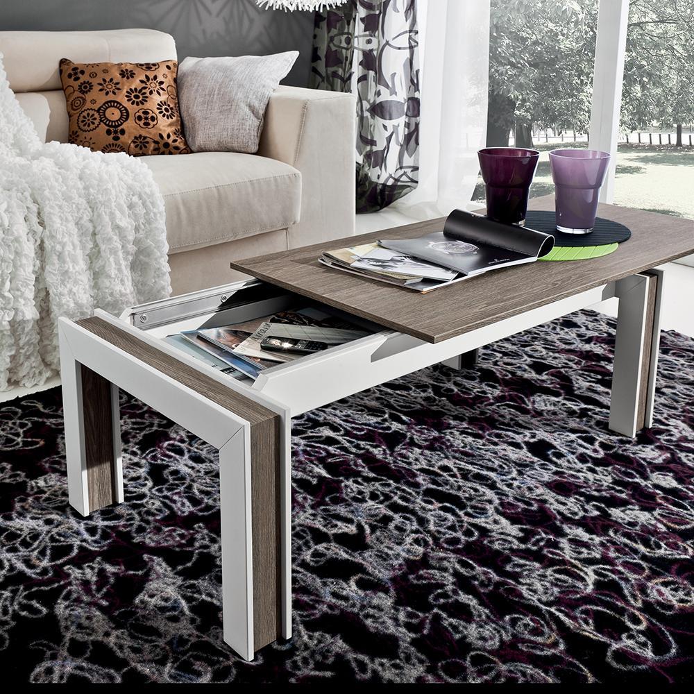 Hannover di Eglooh | Tavolino da salotto con piano scorrevole e vano contenitore