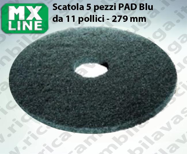 5 Dischi Pad MX LINE Blu da 11 pollici 279 mm, Made in EU per lavapavimenti e monospazzole