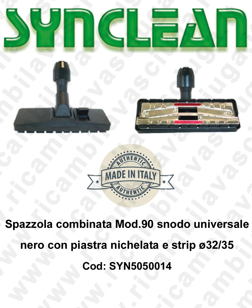 Spazzola combinata Mod.90 snodo universale nero con piastra nichelata e strip ø32/35  - SYNCLEAN - Mod: SYN5050014