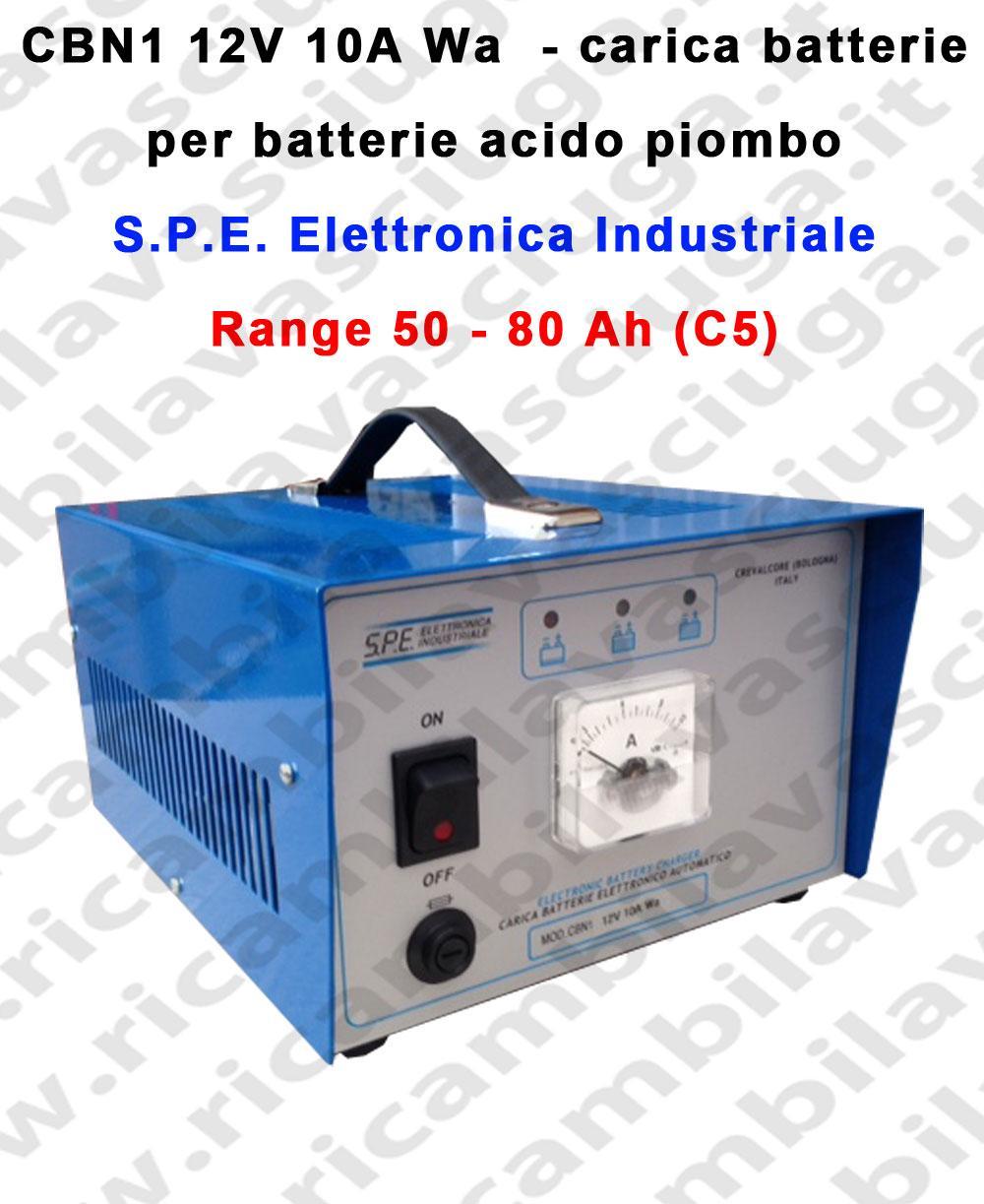 Carica batterie Mod: CBN1 12V 10A Wa per batterie acido piombo S.P.E.