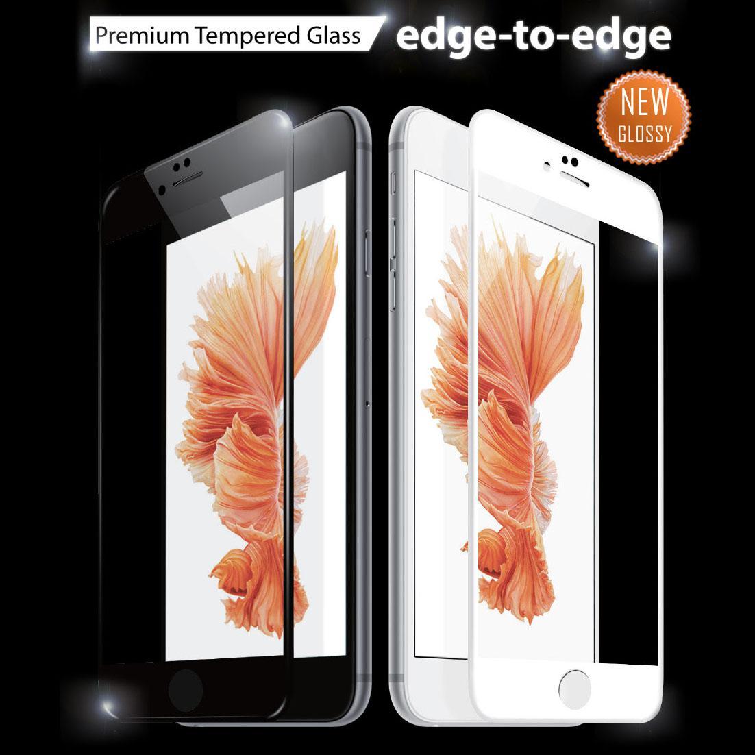 Pellicola in vetro temperato full screen per iphone 6/6s 7 8 e Plus - nero o bianco