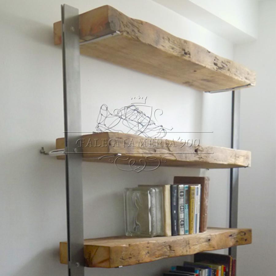 Libreria con top il megno massello e struttura in ferro for Fai da te ferro