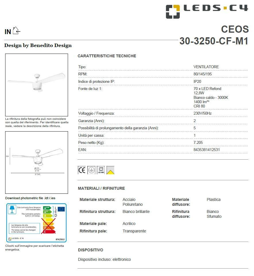 CEOS ventilatore a soffitto con LED