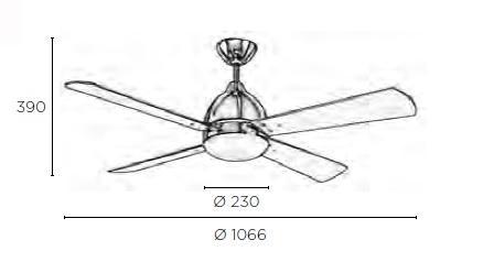 BORNEO ventilatore a soffitto con luce