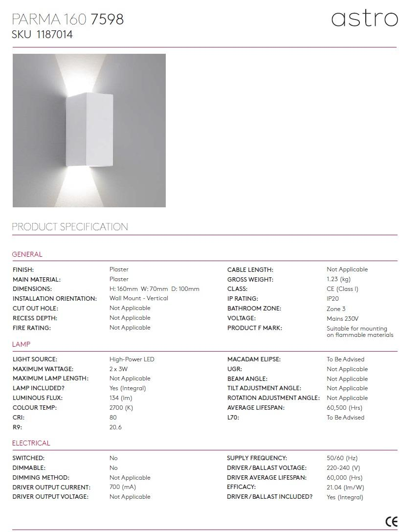 PARMA 160 LED 2700K applique