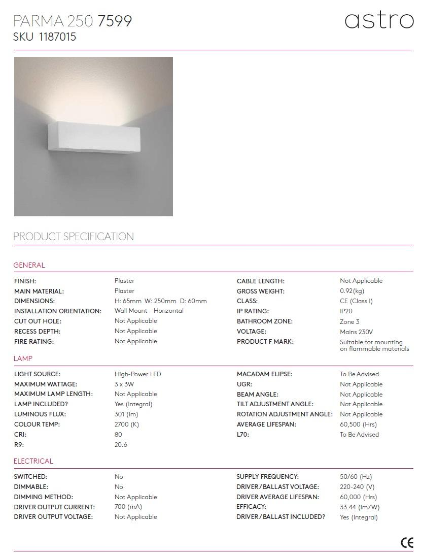 PARMA 250 LED 2700K applique